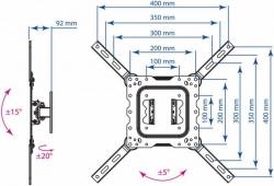 Кронштейн для телевизора Kromax DIX-16 черный 22 -55 макс.30кг настенный поворот и наклон
