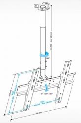 Кронштейн для телевизора Holder PR-101-W белый 32 -65 макс.60кг потолочный фиксированный