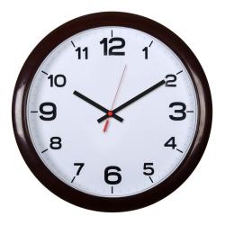 Часы настенные аналоговые Бюрократ WALLC-R87P D29см темно-коричневый/белый