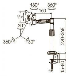 Кронштейн для мониторов ЖК Kromax OFFICE-1 темно-серый 10 -24 макс.10кг настольный поворот и наклон