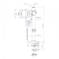 Кронштейн для мониторов Arm Media LCD-T41 черный 15 -32 макс.10кг настольный поворот и наклон верт.перемещ.