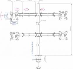 Кронштейн для мониторов Arm Media LCD-T14 черный 15 -32 макс.6кг настольный поворот и наклон верт.перемещ.