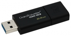 Флеш Диск Kingston 64Gb DataTraveler 100 G3 DT100G3/64GB USB3.0 черный
