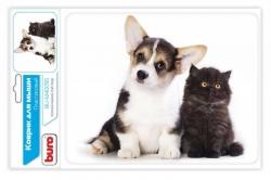 Коврик для мыши Buro BU-M40095 рисунок/котенок и щенок