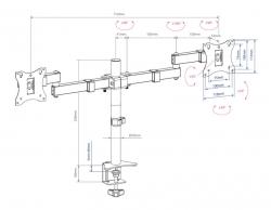 Кронштейн для мониторов Arm Media LCD-T04 черный 15 -32 макс.14кг настольный поворот и наклон верт.перемещ.