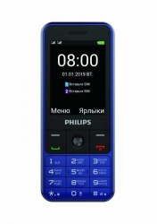 Мобильный телефон Philips E182 Xenium синий моноблок 2Sim 2.4 240x320 0.3Mpix GSM900/1800 GSM1900 MP3 FM microSD