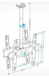 Кронштейн для телевизора Holder PR-102-B черный 32 -65 макс.90кг потолочный фиксированный