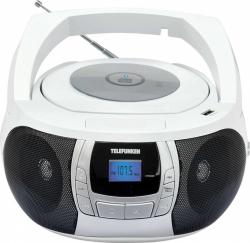 Аудиомагнитола Telefunken TF-CSRP3498B белый/черный 3Вт/CD/CDRW/MP3/FM(dig)/USB/BT
