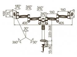 Кронштейн для мониторов ЖК Kromax OFFICE-3 серый 15 -32 макс.12кг настольный поворот и наклон
