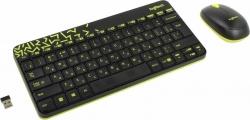 Клавиатура + мышь Logitech MK240 клав:черный/жёлтый мышь:черный/жёлтый USB беспроводная slim Multimedia